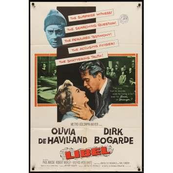 LIBEL Movie Poster '59 Dirk Bogarde, Olivia de Havilland