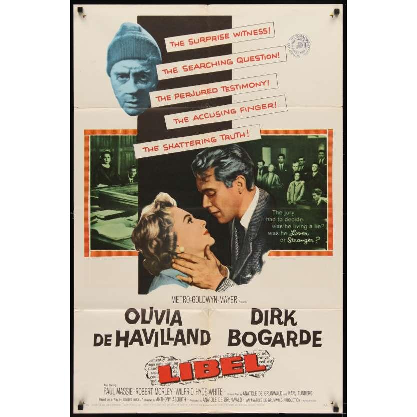 LIBEL Affiche Originale US '59 Dirk Bogarde, Olivia de Havilland Movie poster