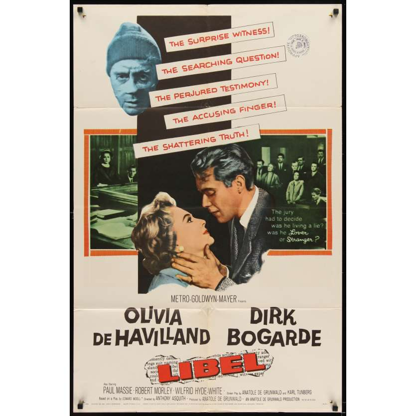 LIBEL Movie Poster '59 Dirk Bogarde, Olivia de Havilland