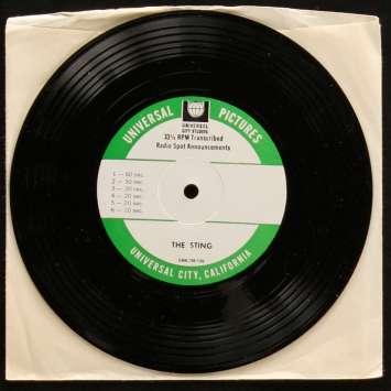 THE STING 45RPM record Radio Spots '73 Rare ! Redford, Newman