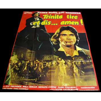 TRINITA TIRE ET DIS AMEN French Movie Poster 47x63 '72 Sydne Rome western