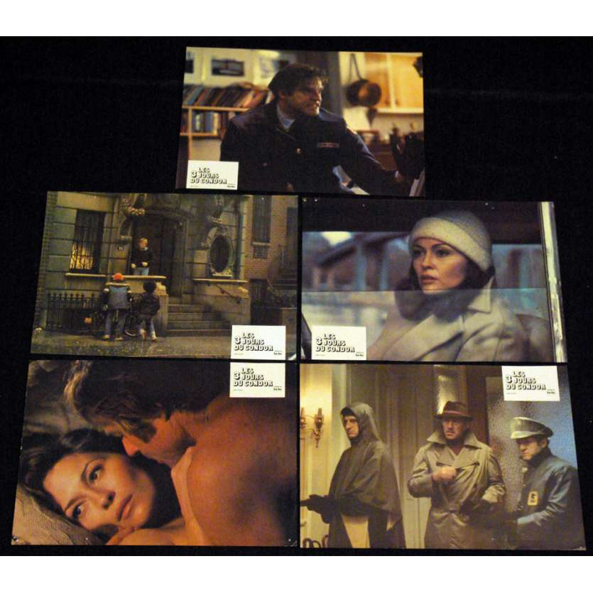 3 DAYS OF THE CONDOR Lobby cards x4 FR '75 Robert Redford, Faye Dunaway
