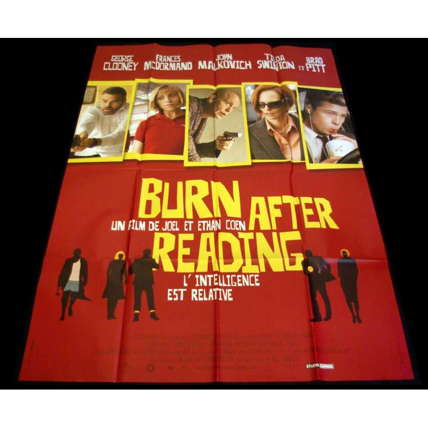 BURN AFTER READING French Movie Poster 47x63 '08 Coen bros, Brad Pitt