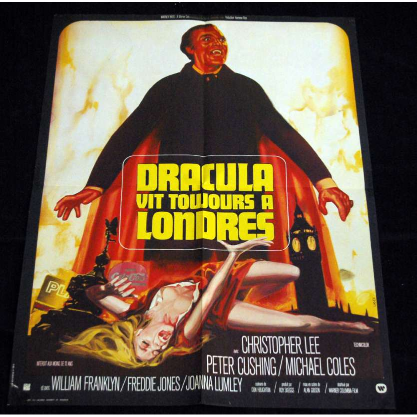 DRACULA VIT TOUJOURS A LONDRES Affiche 60x80 FR '74 Hammer Films, Christopher Lee Movie Poster