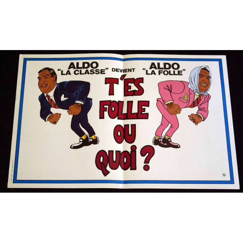 T'ES FOLLE OU QUOI French Movie Poster 15x21 '82 Aldo Maccione