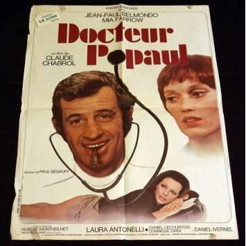 DOCTEUR POPAUL French Movie Poster 23x31 '72 Jean Paul Belmondo, Chabrol