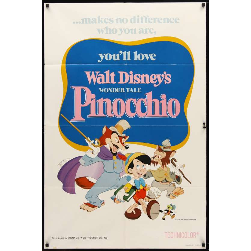 PINOCCHIO 1sh R78 Disney classic fantasy cartoon about a wooden boy who wants to be real!