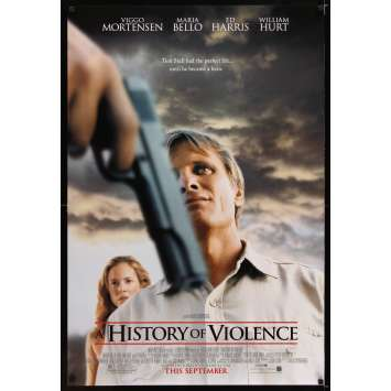 HISTORY OF VIOLENCE advance DS 1sh '05 David Cronenberg, Viggo Mortensen, sexy Maria Bello