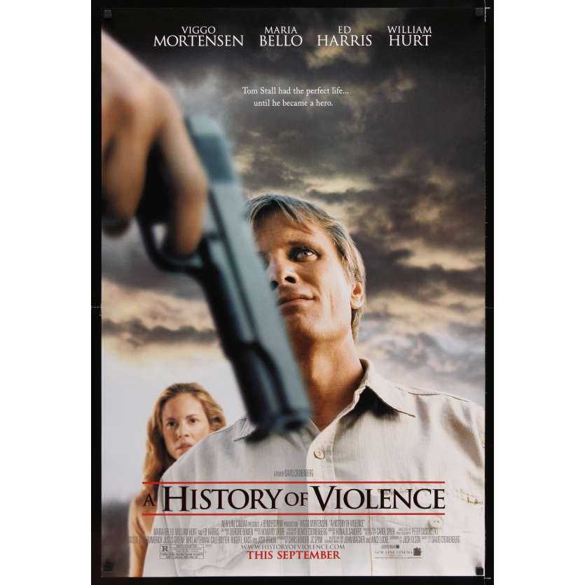 HISTORY OF VIOLENCE advance DS 1sh '05 David Cronenberg, Viggo Mortensen, sexy Maria Bello