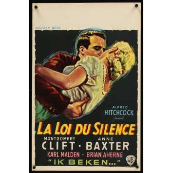 LOI DU SILENCE Affiche Belge '53 Alfred Hitchcock, Montgomery Clift & Anne Baxter