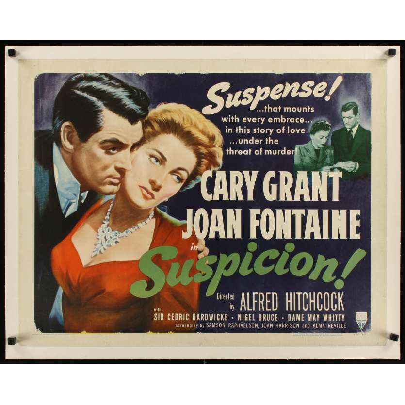 SOUPÇONS Affiche US Entoilée R53 Alfred Hitchcock,Cary Grant & Joan Fontaine