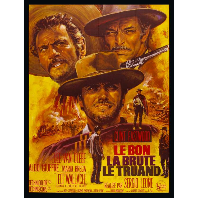 BON LA BRUTE ET LE TRUAND '68 120x160 Good Bad Ugly Original French Movie Poster NO RE-ISSUE!