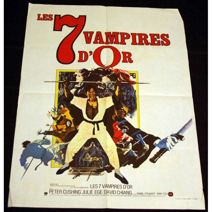 7 GOLDEN VAMPIRES French Movie Poster 23x32 '74 Peter Cushing, Hammer