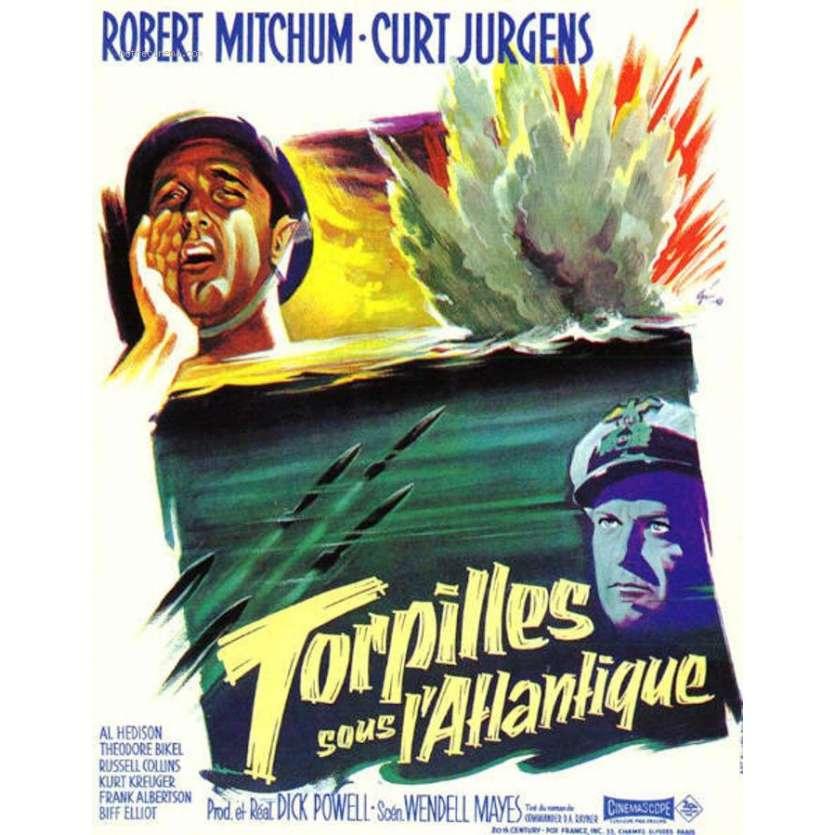 TORPILLES SOUS L'ATLANTIQUE Affiche 40x60 '57 FR Robert Mitchum