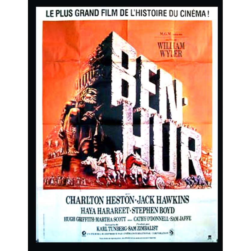 BEN-HUR French Movie Poster 47x63 R80 Charlton Heston