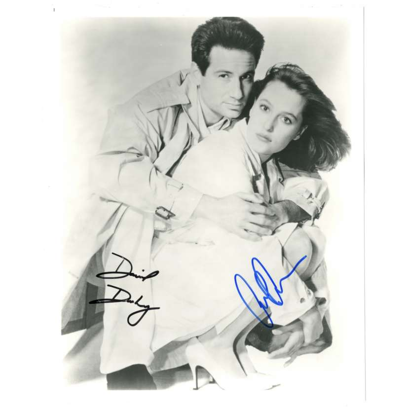 DAVID DUCHOVNY, GILLIAN ANDERSON Photo signée 20x25 '01 portrait dans X-Files Signed Still