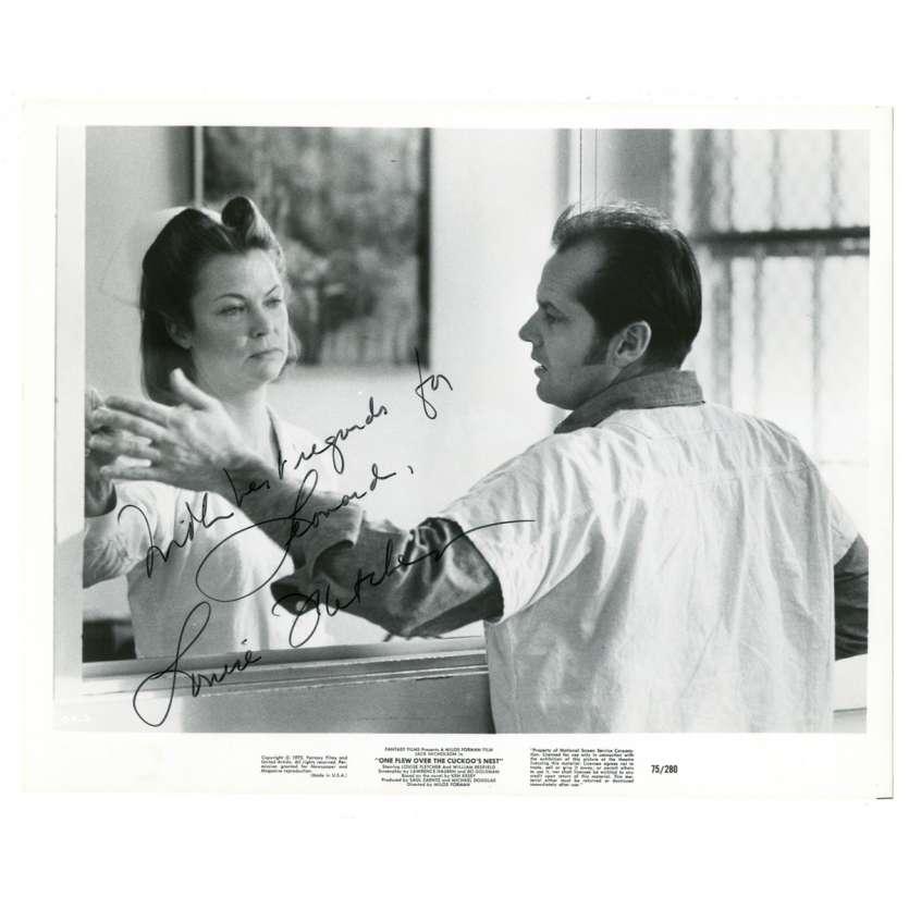 LOUISE FLETCHER Photo signée 20x25 '75 avec Jack Nicholson dans Vol au dessus d'un nid de coucous