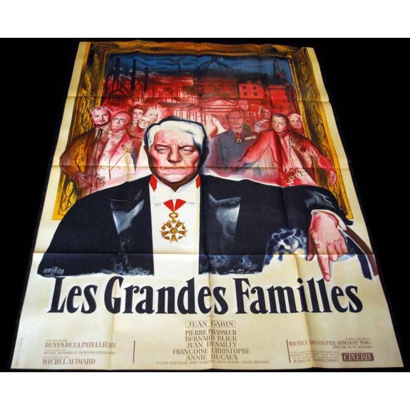 LES GRANDES FAMILLES Affiche 120x160 FR '58 Jean Gabin, Michel Audiard