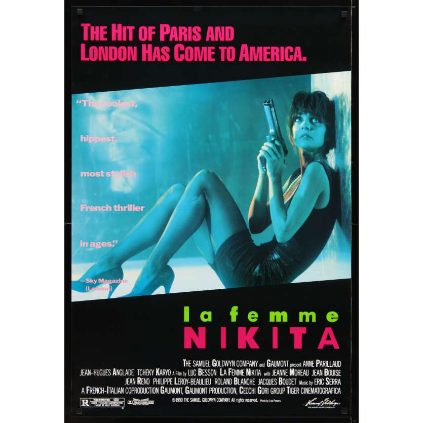 LA FEMME NIKITA Movie Poster '90 Luc Besson, sexy Anne Parillaud fires pistol on ground!