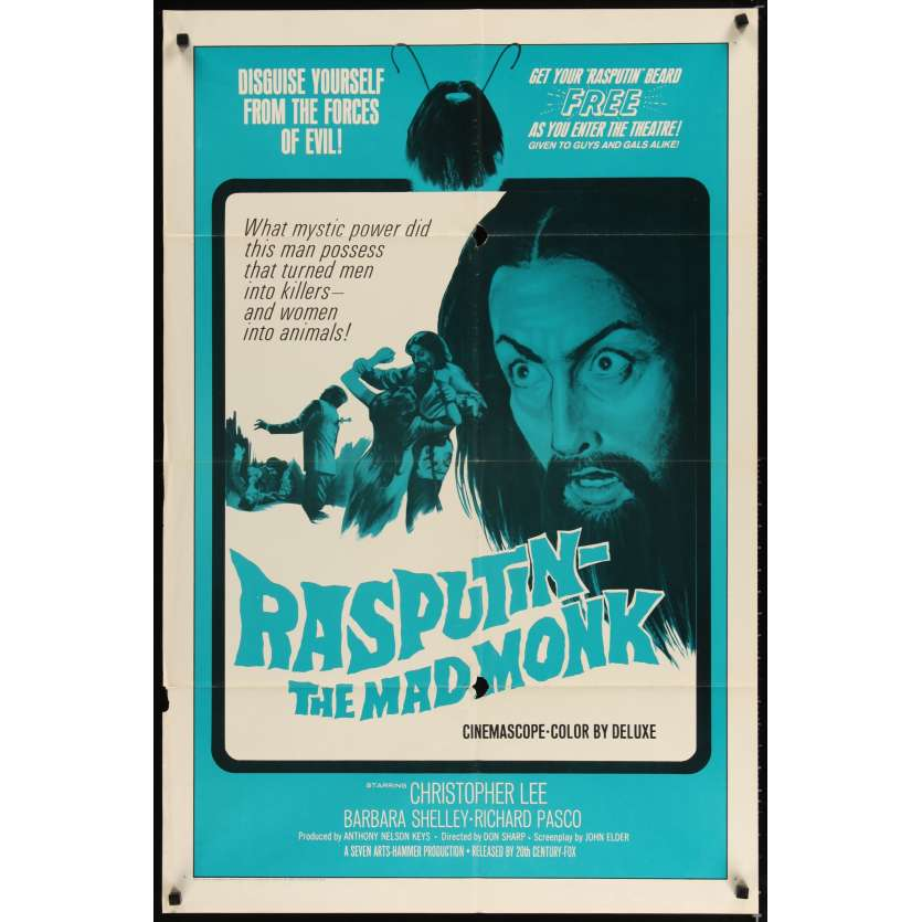 RASPUTIN THE MAD MONK Movie Poster - Christopher Lee