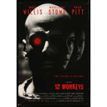 12 MONKEYS Movie Poster '95 Bruce Willis, Brad Pitt, Terry Gilliam
