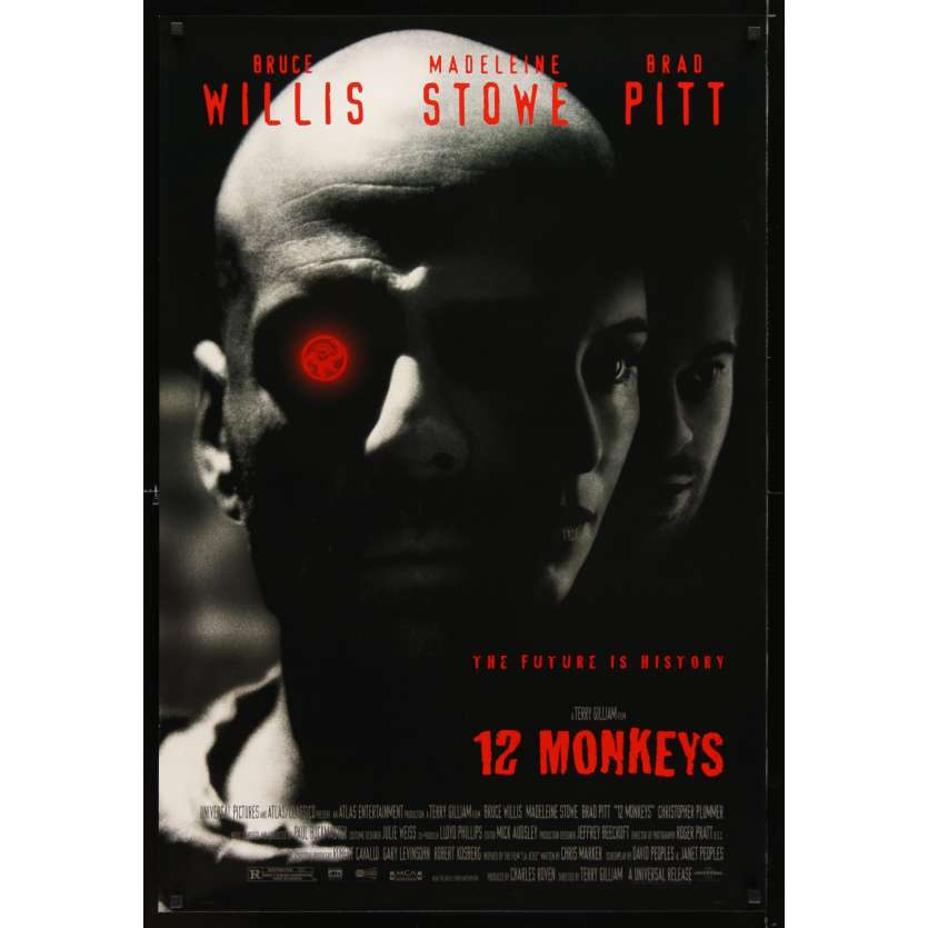 12 MONKEYS Movie Poster '95 Bruce Willis, Brad Pitt, Terry Gilliam