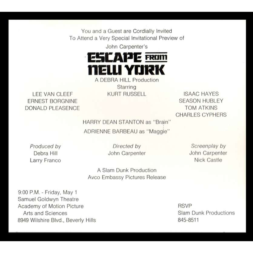 NEW-YORK 1997 Invitation Premiere du film '81 John Carpenter, Kurt Russel