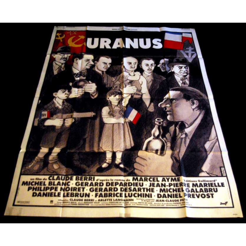 URANUS French Movie Poster 47x63- 1990 - Claude Berri, Gérard Depardieu