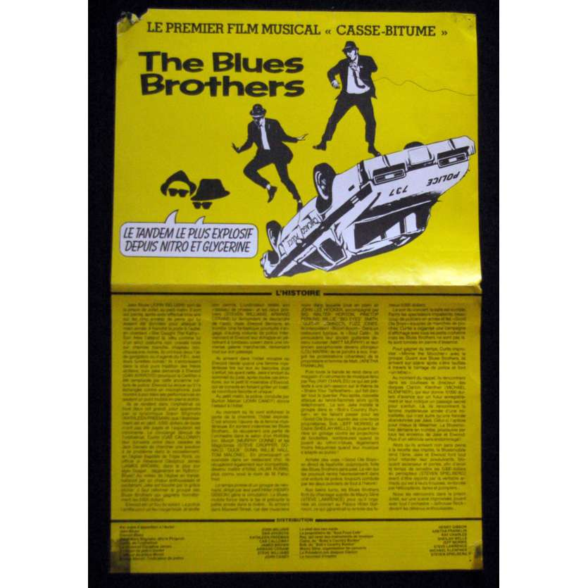 THE BLUES BROTHERS French Vintage Flyer 9x12, 4 pages- 1980 - John Landis, John Belushi, Dan Aykroyd