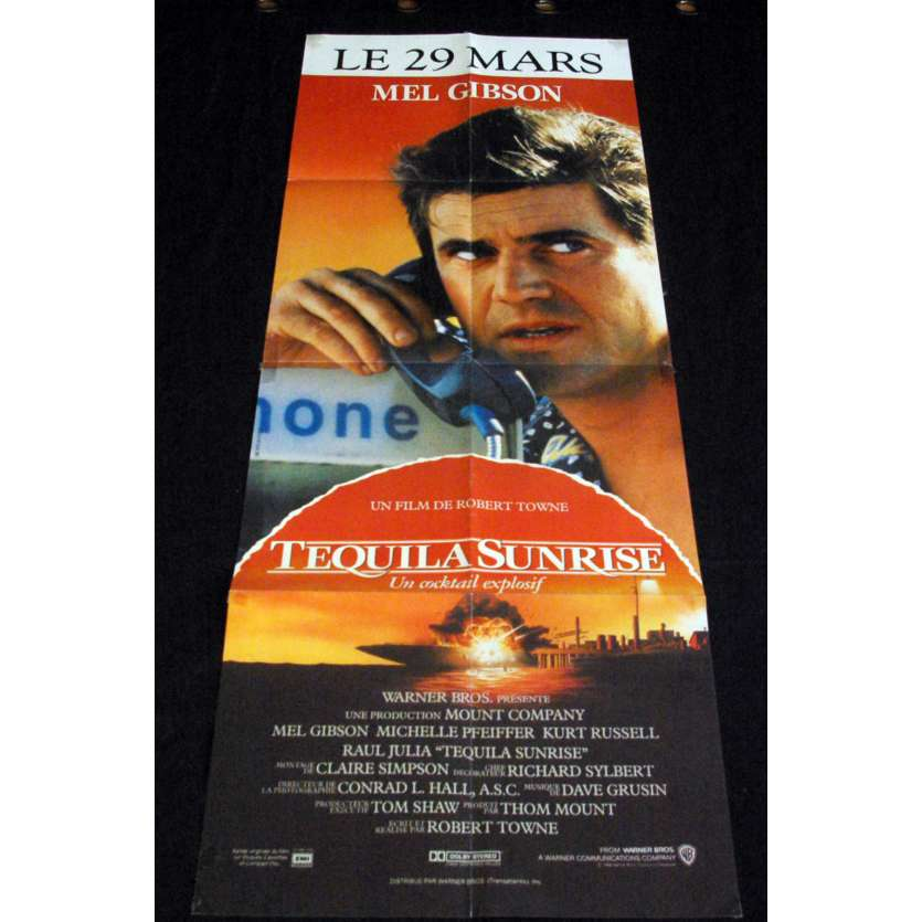 TEQUILA SUNRISE French Movie Poster 23x63- 1988 - Robert Town, Mel Gibson, Michelle Pfeiffer