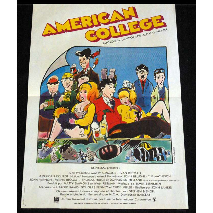 NATIONAL LAMPOON'S ANIMAL HOUSE French Movie Poster 15x21- 1978 - John Landis, John Belushi