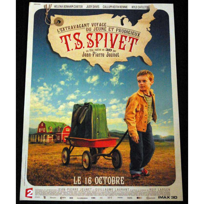T.S PIVET French Movie Poster 15x21- 2013 - Jean-Pierre Jeunet, Helena Bonham Carter