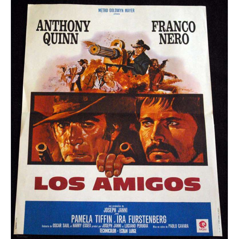 LOS AMIGOS French Movie Poster 15x21- 1974 - Paolo Cavara, Anthony Quinn