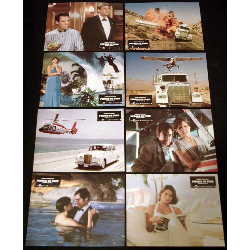 LICENSE TO KILL French Lobby Cards (8) 9x10- 1989 - John Glen, Timothy Dalton