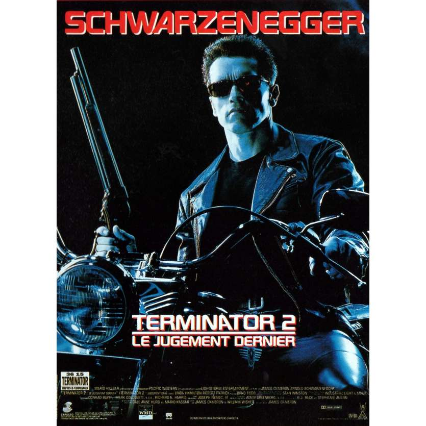 TERMINATOR 2 French Movie Poster 15x21 '91 Schwarzenegger, James Cameron