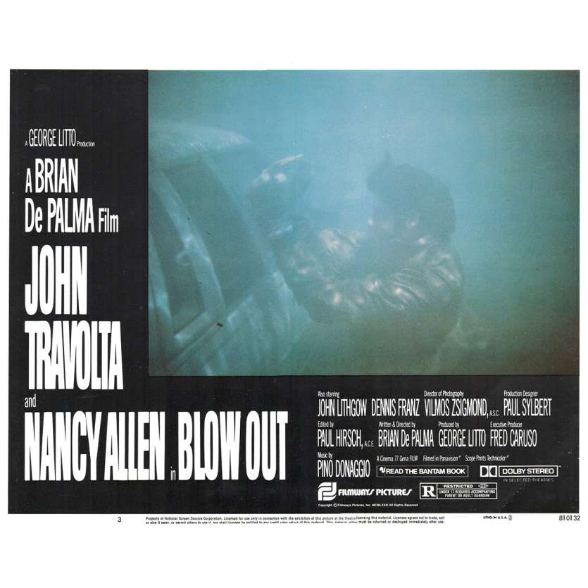 BLOWOUT US Lobby Card 11x14- 1981 - Brian de Palma, John Travolta