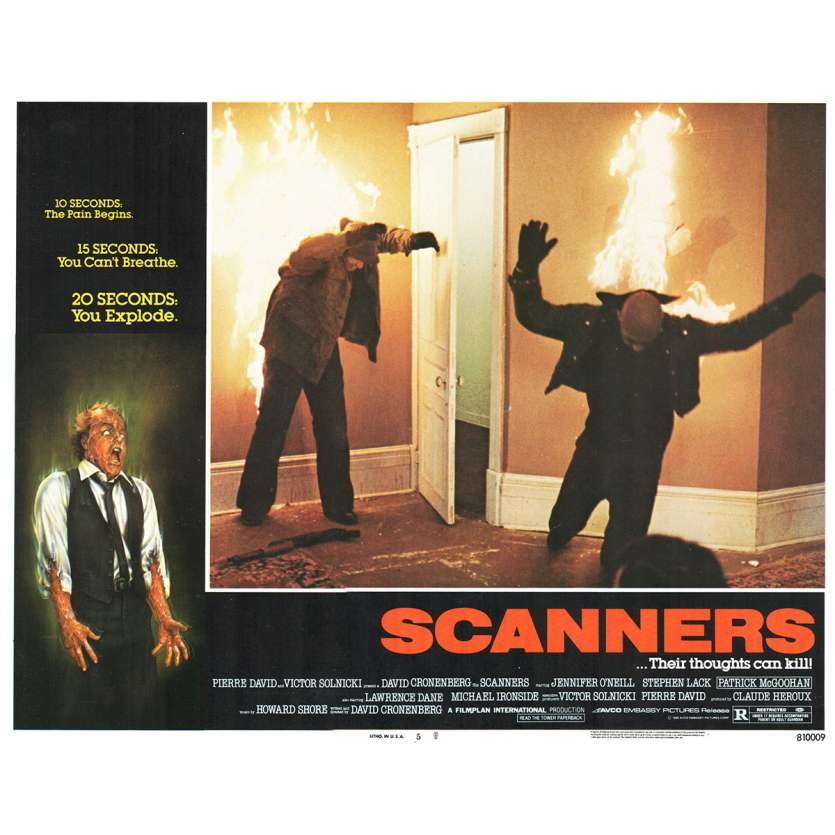 SCANNERS Photo de film N4 28x36 - 1981 - Patrick McGoohan, David Cronenberg