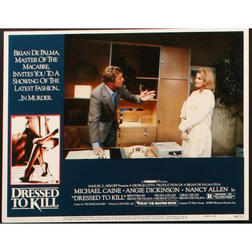 DRESSED TO KILL US Lobby Card 11x14- 1980 - Brian de Palma, Michael Caine