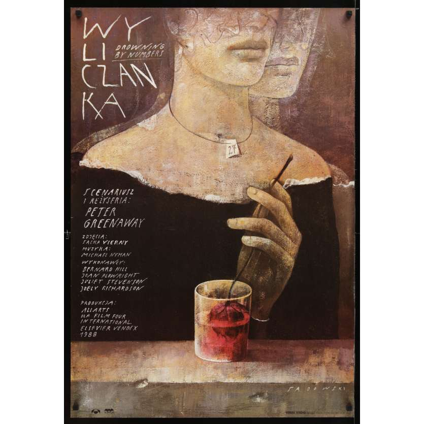 DROWNING BY NUMBERS Polish Movie Poster 27x38 '94 Peter Greenaway, Wiktor Sadowski