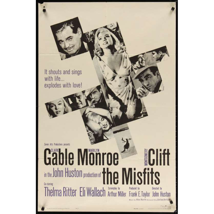 THE MISFITS US Movie Poster 27x41- 1961 - John Huston, Marilyn Monroe