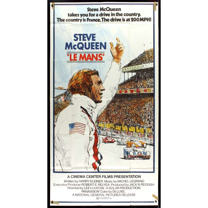 LE MANS Movie Poster 41x81- 1971 - Roman Polanski, Mia Farrow