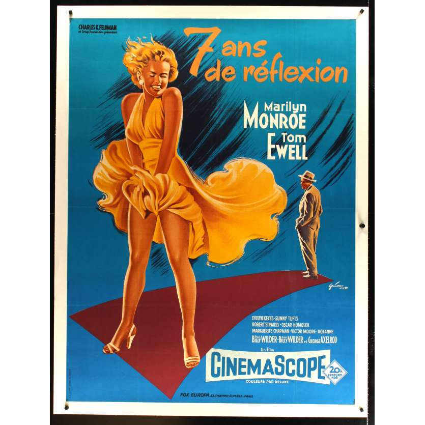 SEVEN YEARS ITCH French Movie Poster Entoilée 47x62- R1970 - Billy Wilder, Marilyn Monroe