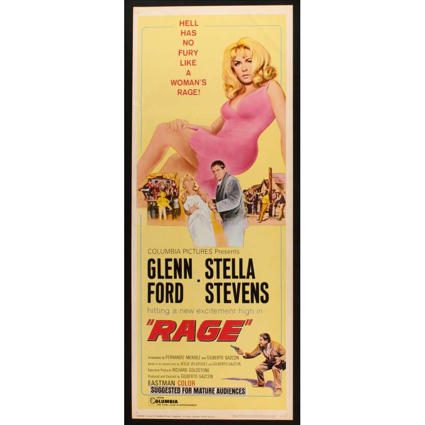RAGE US Movie Poster Très bon à Excellent état (C7) 14x36 - 1966 - Glen Ford, Stella Stevens