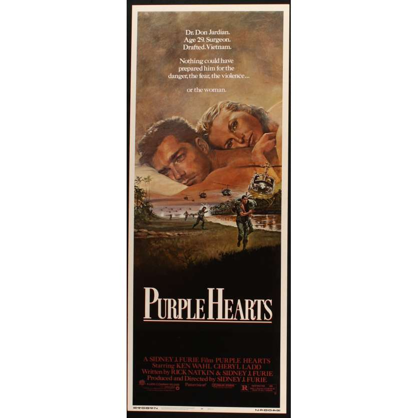 PURPLE HEARTS US Movie Poster Très bon à Excellent état (C7) 14x36 - 1984 - Sidney J. Furie, Ken Wahl