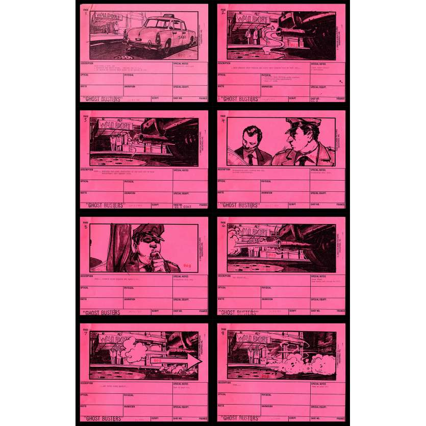 GHOSTBUSTERS Storyboards x8 seq-1 21x30 - 1983 - Harold Ramis, Dan Aycroyd