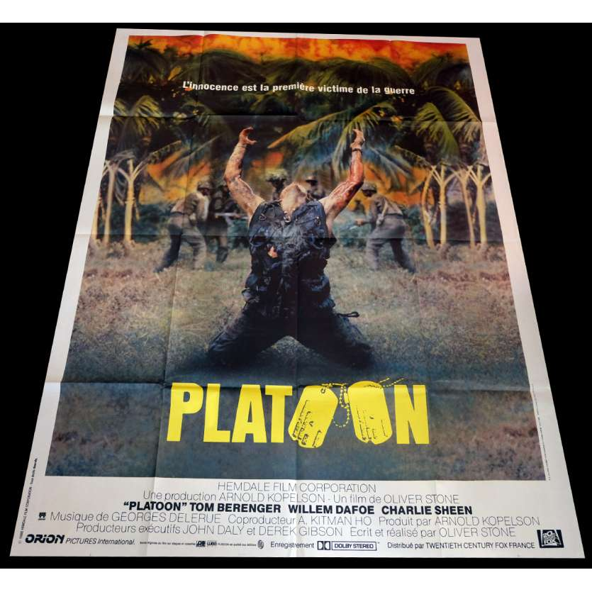 PLATOON French Movie Poster 47x63 - 1986 - Oliver Stone, Willem Dafoe