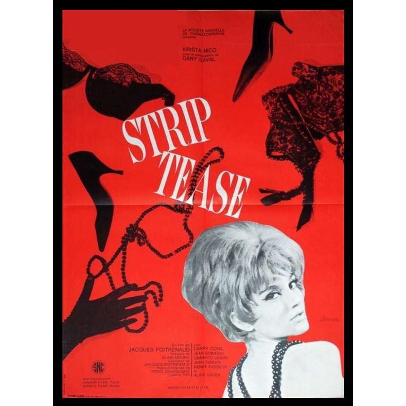 STRIP TEASE French Movie Poster 47x63 '63 Dany Saval, Poitrenaud, X-rated, sexy Poster